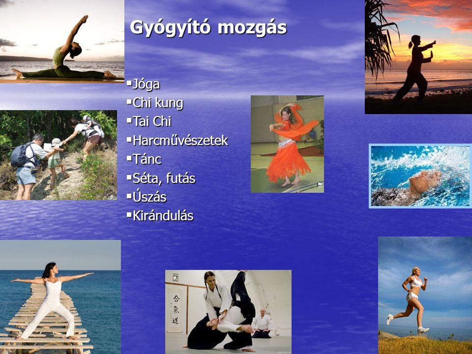 Gyógyító mozgás  Jóga  Chi kung  Tai Chi  Harcművészetek  Tánc  Séta, futás  Úszás  Kirándulás