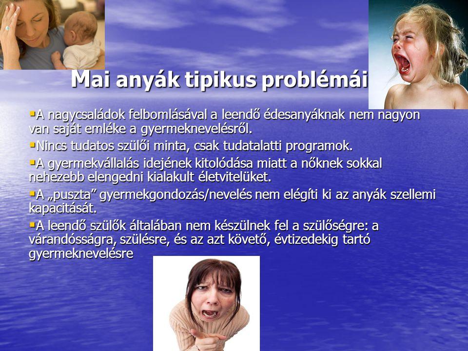 M ai anyák tipikus problémái M ai anyák tipikus problémái  A nagycsaládok felbomlásával a leendő édesanyáknak nem nagyon van saját emléke a gyermekne