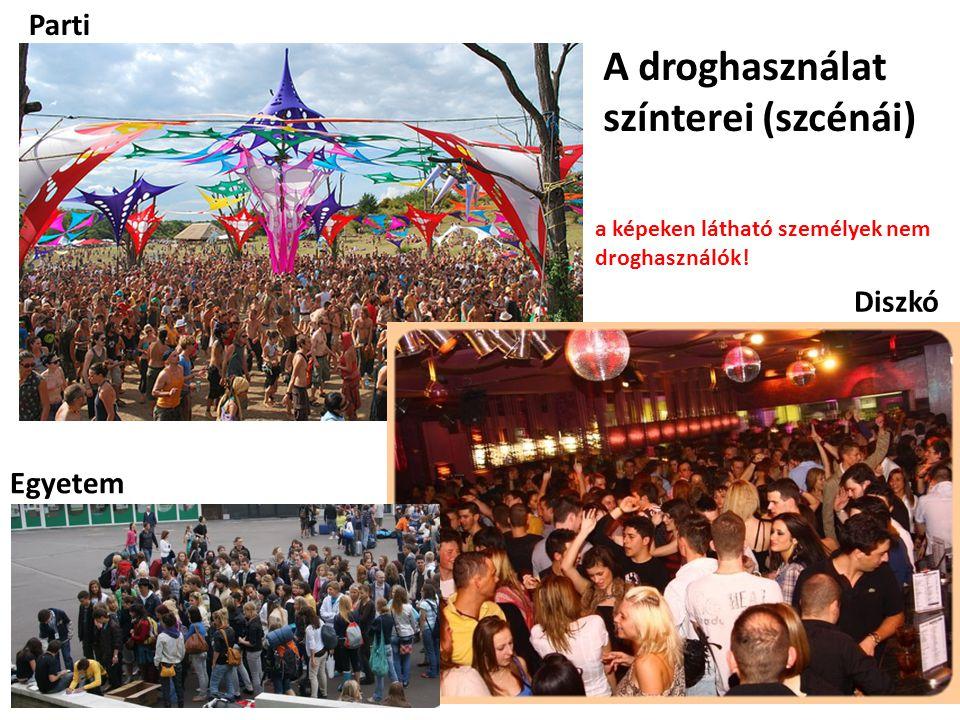 A droghasználat színterei (szcénái) Parti Diszkó Egyetem a képeken látható személyek nem droghasználók!