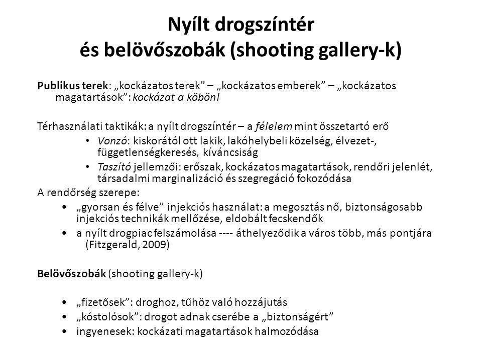 """Nyílt drogszíntér és belövőszobák (shooting gallery-k) Publikus terek: """"kockázatos terek"""" – """"kockázatos emberek"""" – """"kockázatos magatartások"""": kockázat"""