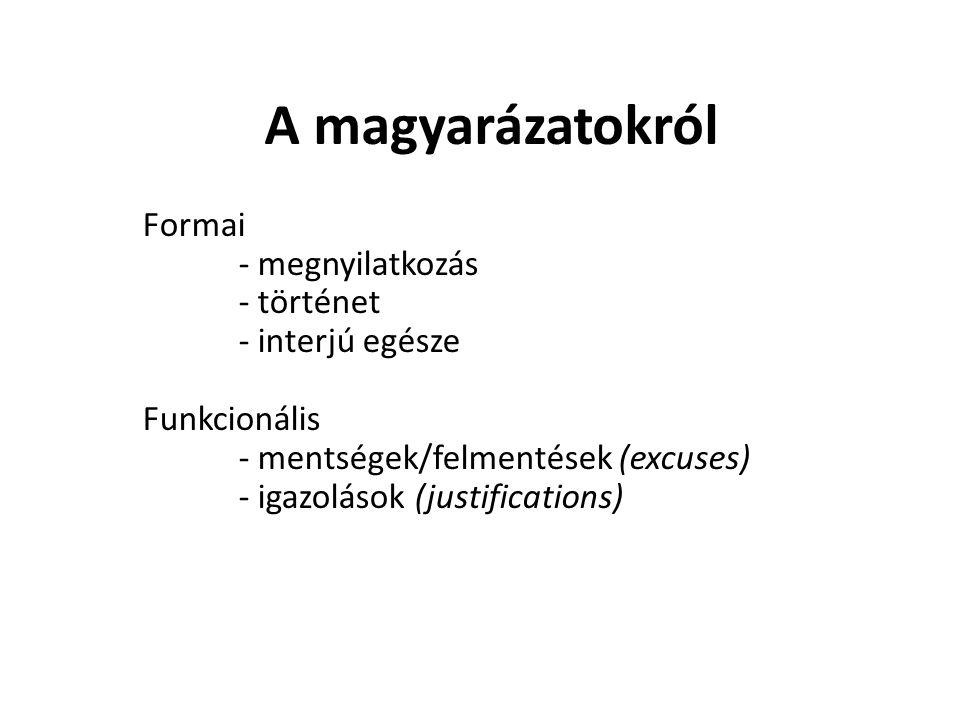 A magyarázatokról Formai - megnyilatkozás - történet - interjú egésze Funkcionális - mentségek/felmentések (excuses) - igazolások (justifications)