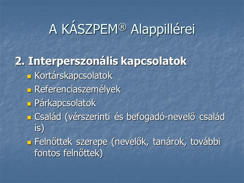 A KÁSZPEM ® Alappillérei 2. Interperszonális kapcsolatok  Kortárskapcsolatok  Referenciaszemélyek  Párkapcsolatok  Család (vérszerinti és befogadó