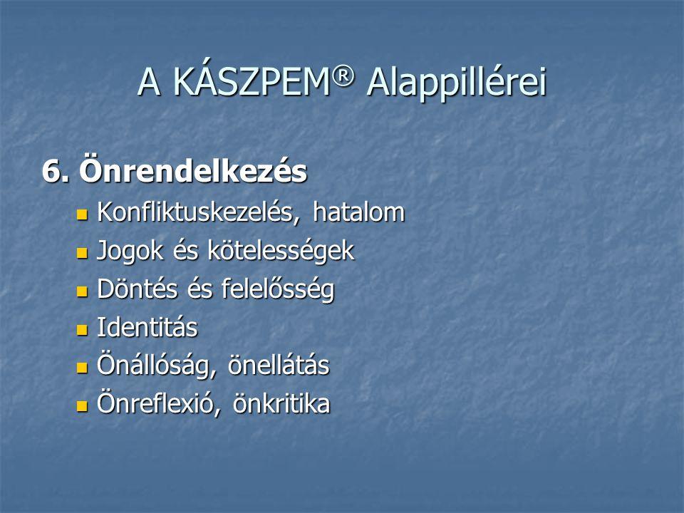 A KÁSZPEM ® Alappillérei 6. Önrendelkezés  Konfliktuskezelés, hatalom  Jogok és kötelességek  Döntés és felelősség  Identitás  Önállóság, önellát