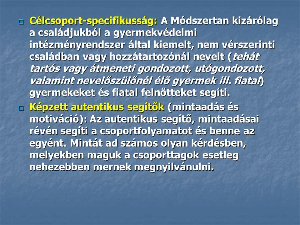  Célcsoport-specifikusság: A Módszertan kizárólag a családjukból a gyermekvédelmi intézményrendszer által kiemelt, nem vérszerinti családban vagy hoz