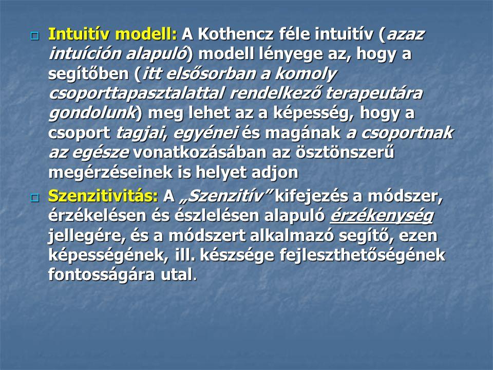  Intuitív modell: A Kothencz féle intuitív (azaz intuíción alapuló) modell lényege az, hogy a segítőben (itt elsősorban a komoly csoporttapasztalatta