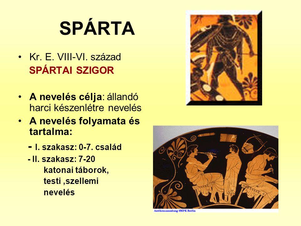 SPÁRTA •Kr. E. VIII-VI. század SPÁRTAI SZIGOR •A nevelés célja: állandó harci készenlétre nevelés •A nevelés folyamata és tartalma: - I. szakasz: 0-7.