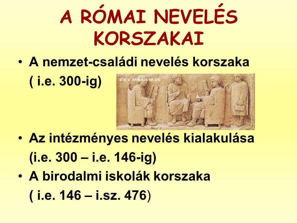 A RÓMAI NEVELÉS KORSZAKAI •A nemzet-családi nevelés korszaka ( i.e. 300-ig) •Az intézményes nevelés kialakulása (i.e. 300 – i.e. 146-ig) •A birodalmi