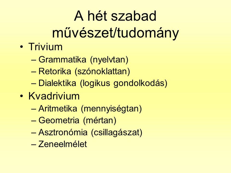 A hét szabad művészet/tudomány •Trivium –Grammatika (nyelvtan) –Retorika (szónoklattan) –Dialektika (logikus gondolkodás) •Kvadrivium –Aritmetika (men