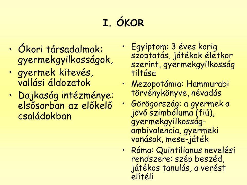 I. ÓKOR •Ókori társadalmak: gyermekgyilkosságok, •gyermek kitevés, vallási áldozatok •Dajkaság intézménye: elsősorban az előkelő családokban •Egyiptom