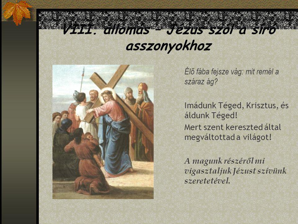 VIII.állomás – Jézus szól a síró asszonyokhoz Élő fába fejsze vág: mit remél a száraz ág.