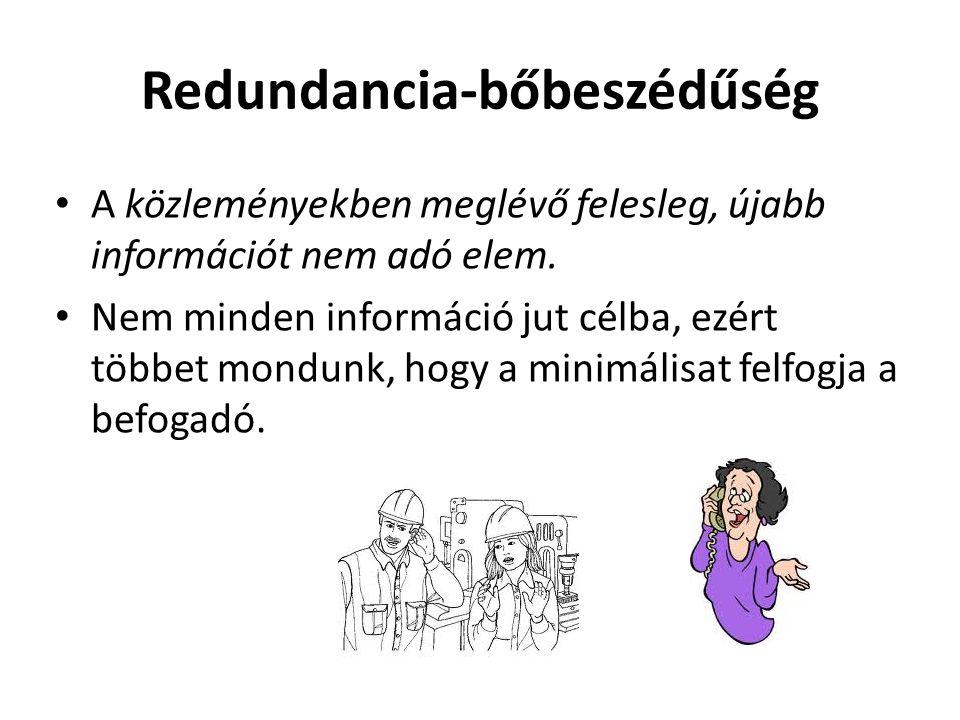 Redundancia-bőbeszédűség • A közleményekben meglévő felesleg, újabb információt nem adó elem. • Nem minden információ jut célba, ezért többet mondunk,