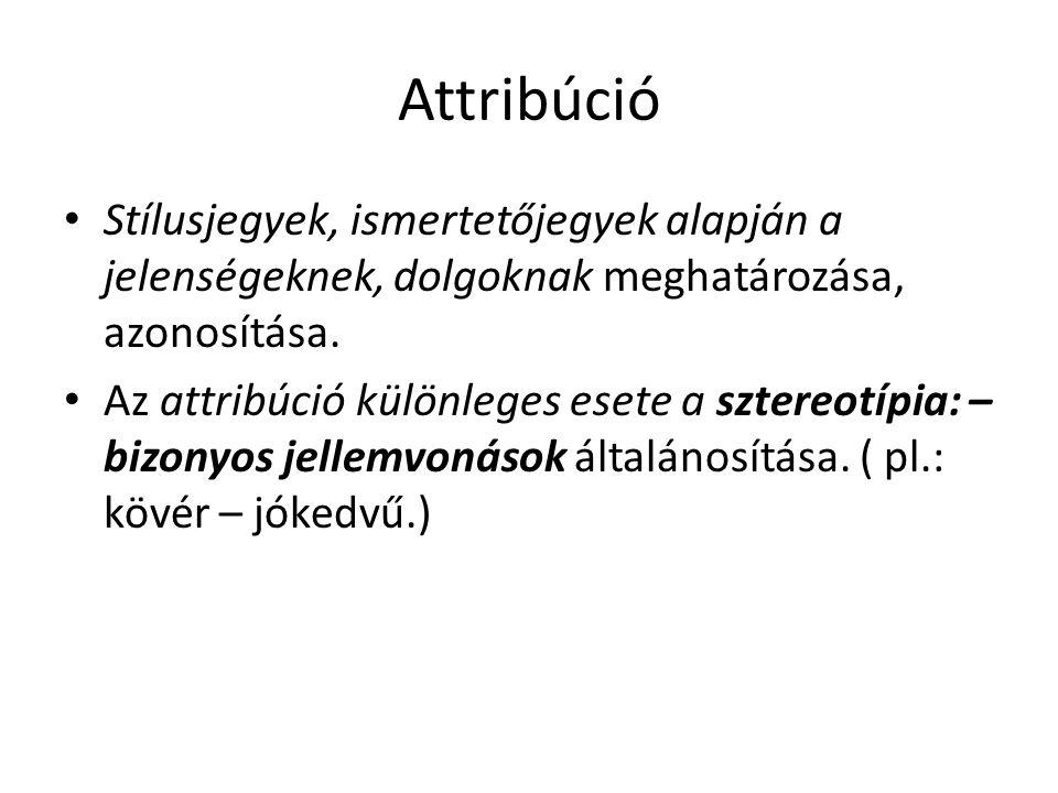 Attribúció • Stílusjegyek, ismertetőjegyek alapján a jelenségeknek, dolgoknak meghatározása, azonosítása. • Az attribúció különleges esete a sztereotí