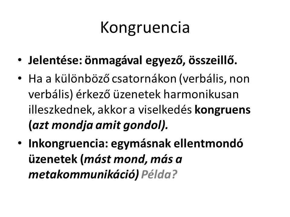 Kongruencia • Jelentése: önmagával egyező, összeillő. • Ha a különböző csatornákon (verbális, non verbális) érkező üzenetek harmonikusan illeszkednek,