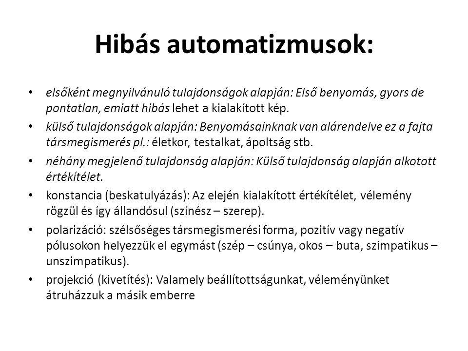 Hibás automatizmusok: • elsőként megnyilvánuló tulajdonságok alapján: Első benyomás, gyors de pontatlan, emiatt hibás lehet a kialakított kép. • külső