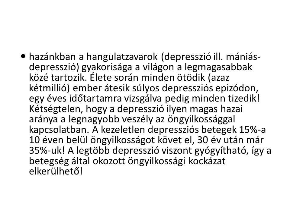  hazánkban a hangulatzavarok (depresszió ill.