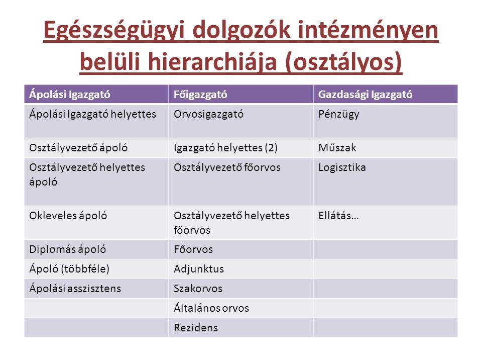 Egészségügyi dolgozók intézményen belüli hierarchiája (osztályos) Ápolási IgazgatóFőigazgatóGazdasági Igazgató Ápolási Igazgató helyettesOrvosigazgatóPénzügy Osztályvezető ápolóIgazgató helyettes (2)Műszak Osztályvezető helyettes ápoló Osztályvezető főorvosLogisztika Okleveles ápolóOsztályvezető helyettes főorvos Ellátás… Diplomás ápolóFőorvos Ápoló (többféle)Adjunktus Ápolási asszisztensSzakorvos Általános orvos Rezidens