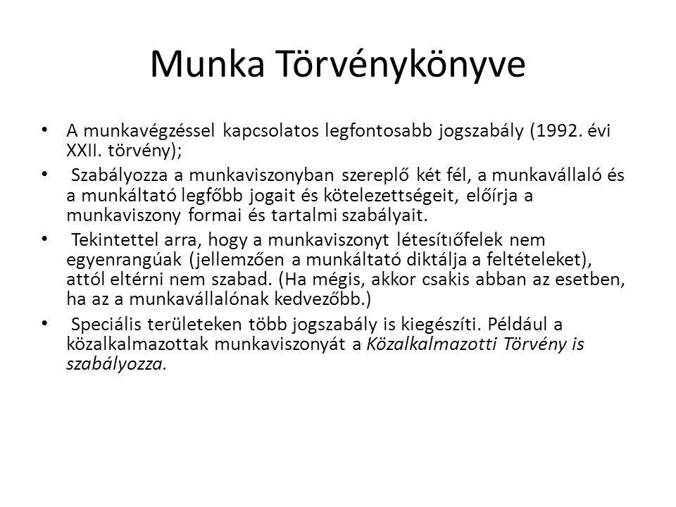 Munka Törvénykönyve • A munkavégzéssel kapcsolatos legfontosabb jogszabály (1992. évi XXII. törvény); • Szabályozza a munkaviszonyban szereplő két fél