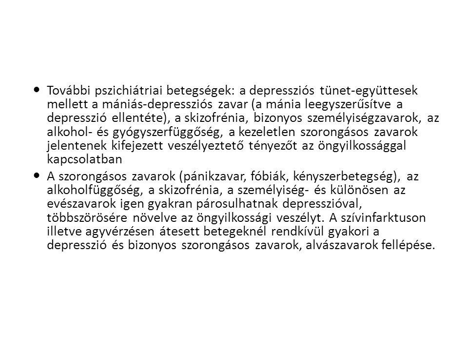  További pszichiátriai betegségek: a depressziós tünet-együttesek mellett a mániás-depressziós zavar (a mánia leegyszerűsítve a depresszió ellentéte)