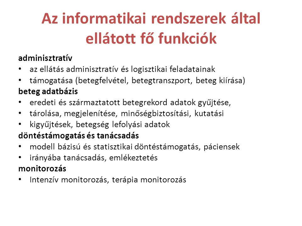 Az informatikai rendszerek által ellátott fő funkciók adminisztratív • az ellátás adminisztratív és logisztikai feladatainak • támogatása (betegfelvét