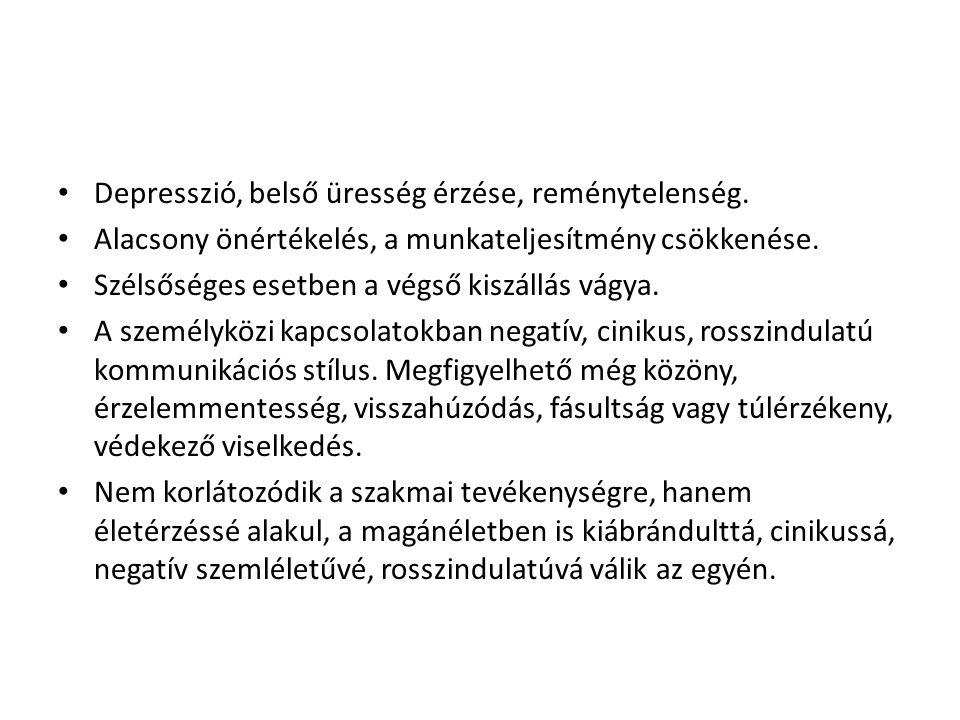 • Depresszió, belső üresség érzése, reménytelenség.