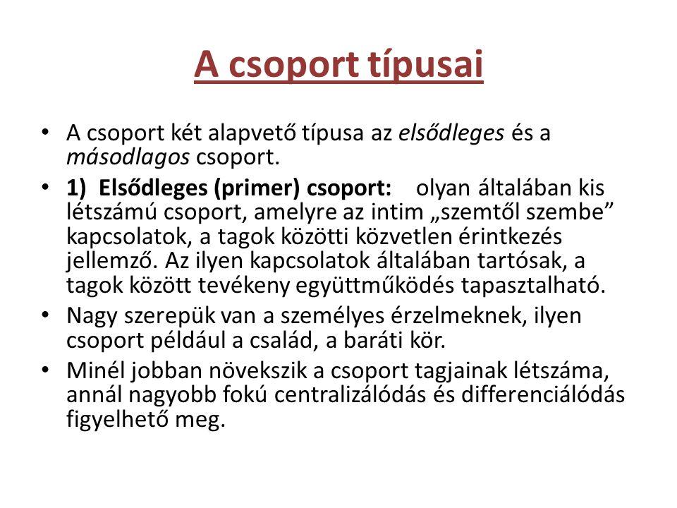 A csoport típusai • A csoport két alapvető típusa az elsődleges és a másodlagos csoport. • 1) Elsődleges (primer) csoport: olyan általában kis létszám