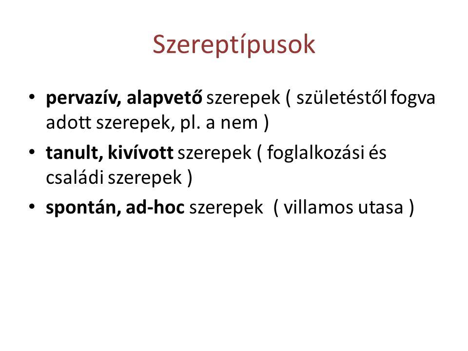 Szereptípusok • pervazív, alapvető szerepek ( születéstől fogva adott szerepek, pl.