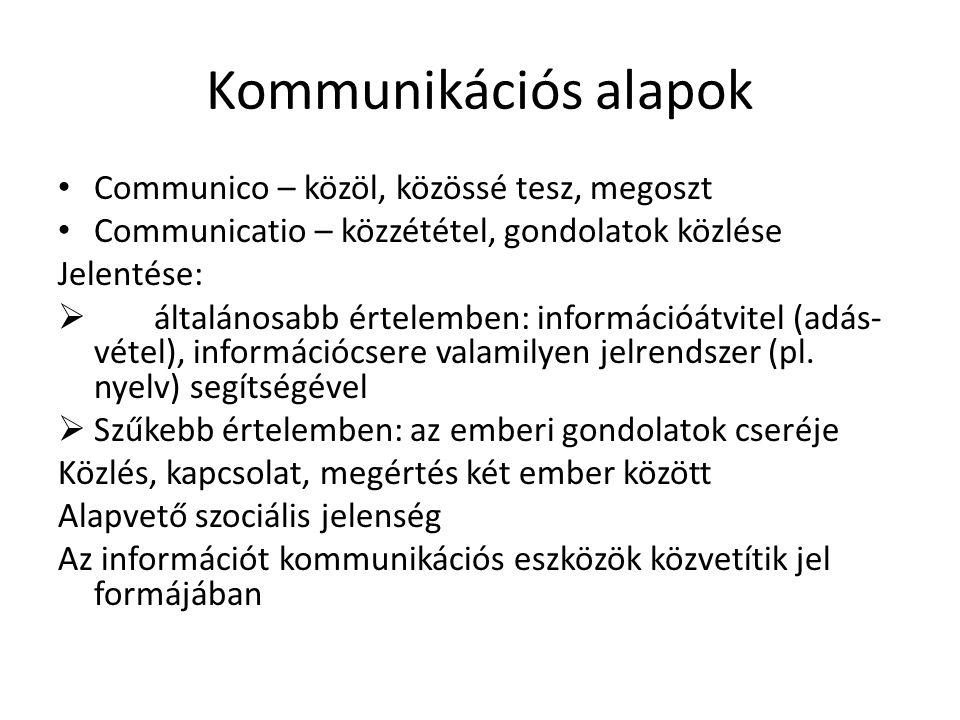 Kommunikációs alapok • Communico – közöl, közössé tesz, megoszt • Communicatio – közzététel, gondolatok közlése Jelentése:  általánosabb értelemben: információátvitel (adás- vétel), információcsere valamilyen jelrendszer (pl.