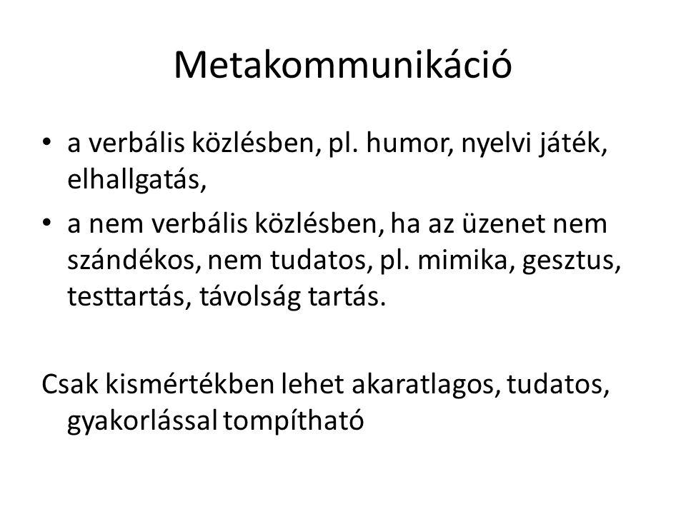 Metakommunikáció • a verbális közlésben, pl. humor, nyelvi játék, elhallgatás, • a nem verbális közlésben, ha az üzenet nem szándékos, nem tudatos, pl