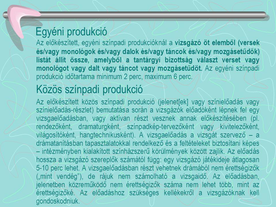 Egyéni produkció Az előkészített, egyéni színpadi produkcióknál a vizsgázó öt elemből (versek és/vagy monológok és/vagy dalok és/vagy táncok és/vagy m