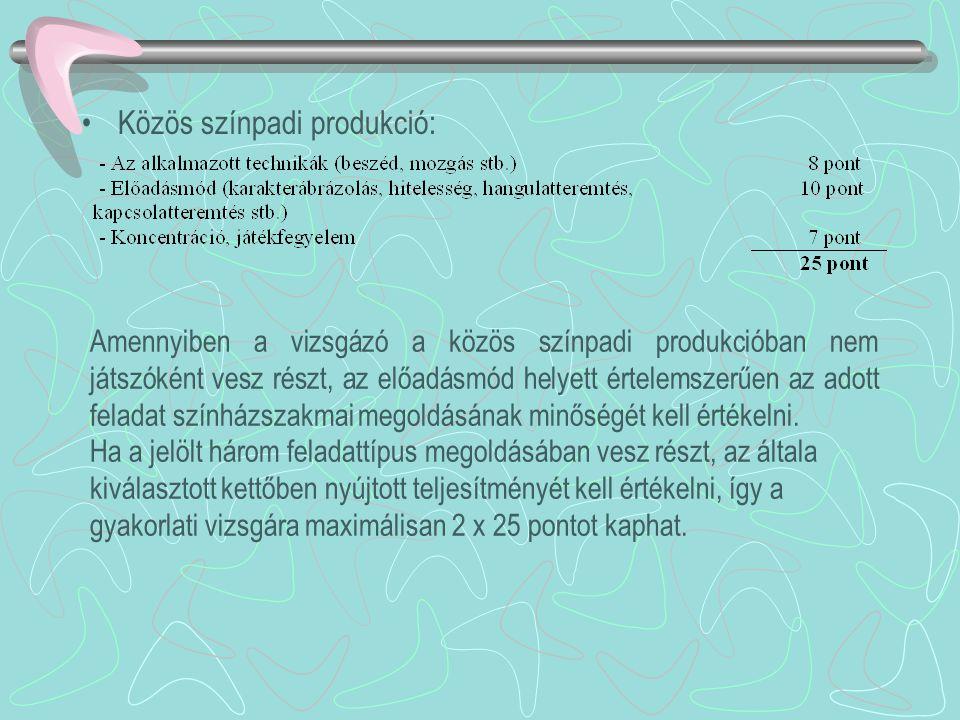 •Közös színpadi produkció: Amennyiben a vizsgázó a közös színpadi produkcióban nem játszóként vesz részt, az előadásmód helyett értelemszerűen az adot