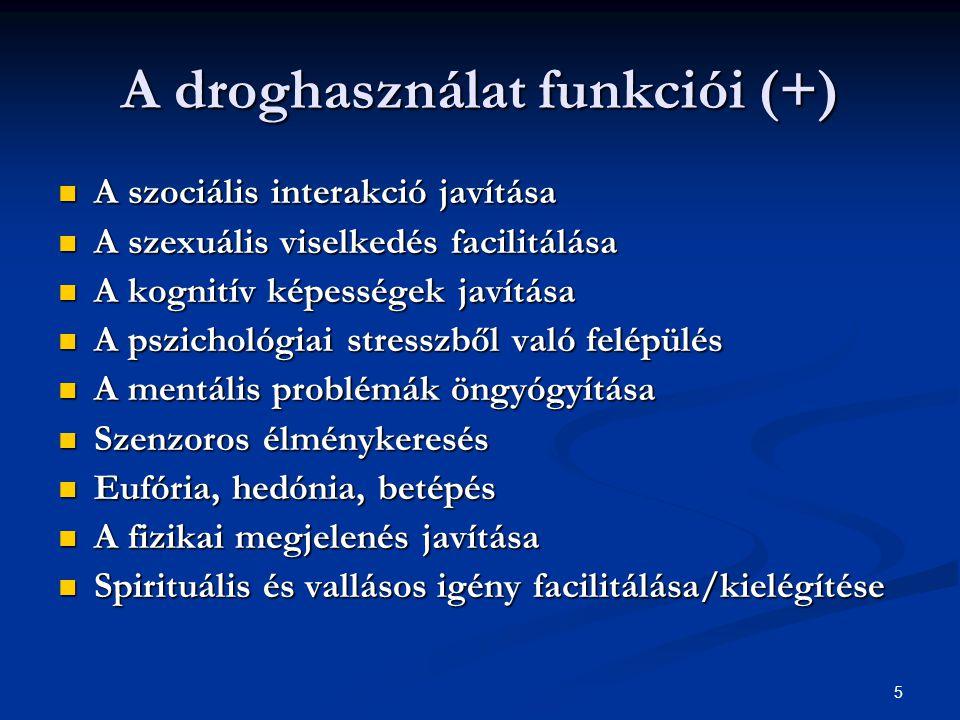 5 A droghasználat funkciói (+)  A szociális interakció javítása  A szexuális viselkedés facilitálása  A kognitív képességek javítása  A pszichológ