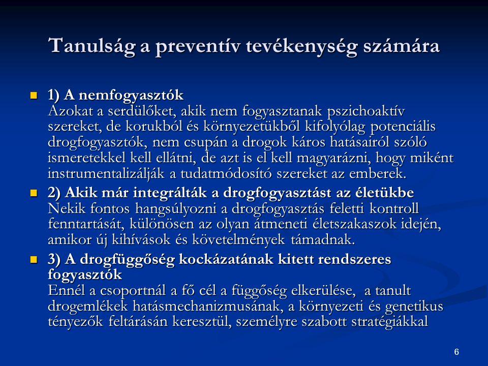 6 Tanulság a preventív tevékenység számára  1) A nemfogyasztók Azokat a serdülőket, akik nem fogyasztanak pszichoaktív szereket, de korukból és körny