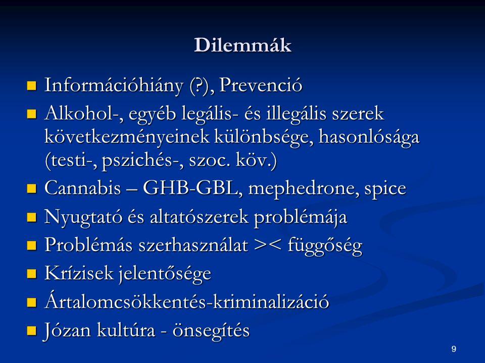 9 Dilemmák  Információhiány (?), Prevenció  Alkohol-, egyéb legális- és illegális szerek következményeinek különbsége, hasonlósága (testi-, pszichés