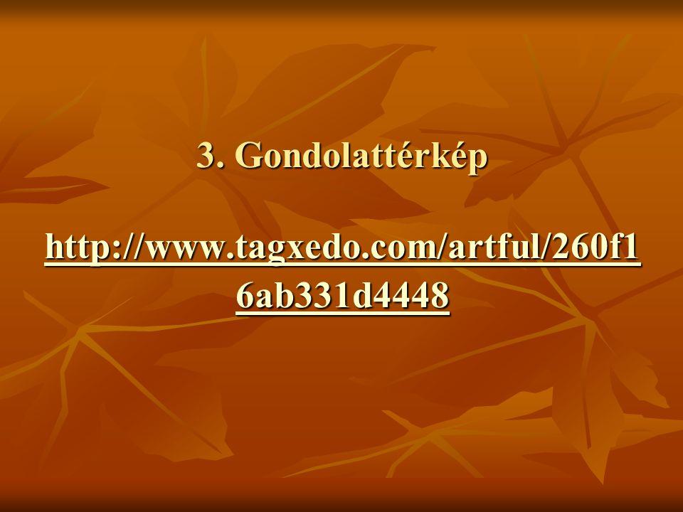 3. Gondolattérkép http://www.tagxedo.com/artful/260f1 6ab331d4448 http://www.tagxedo.com/artful/260f1 6ab331d4448 http://www.tagxedo.com/artful/260f1