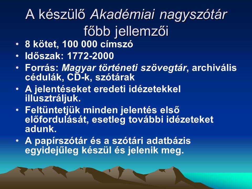 A Magyar történeti korpusz főbb adatai diakrón (1772-2000) reprezentatív 25 millió szövegszó XVIII.