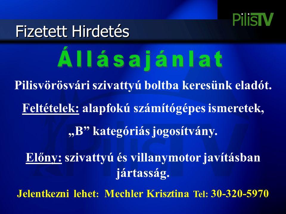 """Fizetett Hirdetés Pilisvörösvári szivattyú boltba keresünk eladót. Feltételek: alapfokú számítógépes ismeretek, """"B"""" kategóriás jogosítvány. Előny: szi"""