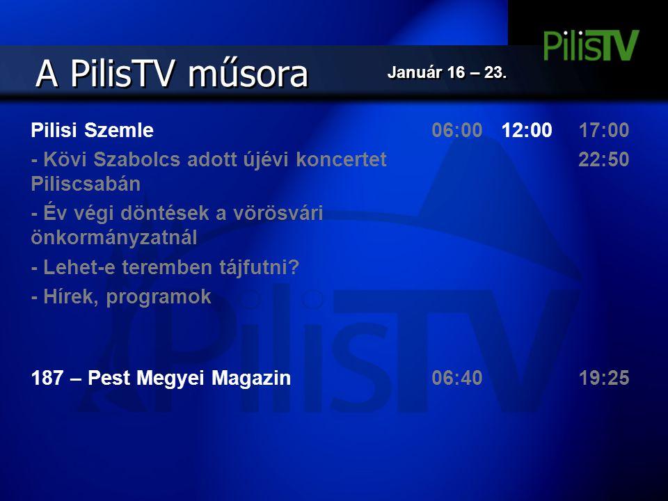 A PilisTV műsora Pilisi Szemle - Kövi Szabolcs adott újévi koncertet Piliscsabán - Év végi döntések a vörösvári önkormányzatnál - Lehet-e teremben táj
