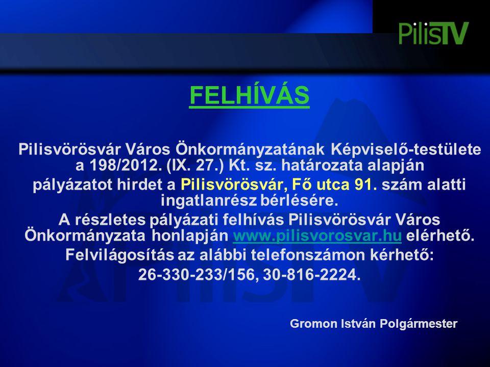 FELHÍVÁS Pilisvörösvár Város Önkormányzatának Képviselő-testülete a 198/2012. (IX. 27.) Kt. sz. határozata alapján pályázatot hirdet a Pilisvörösvár,