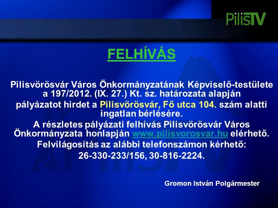 FELHÍVÁS Pilisvörösvár Város Önkormányzatának Képviselő-testülete a 197/2012. (IX. 27.) Kt. sz. határozata alapján pályázatot hirdet a Pilisvörösvár,