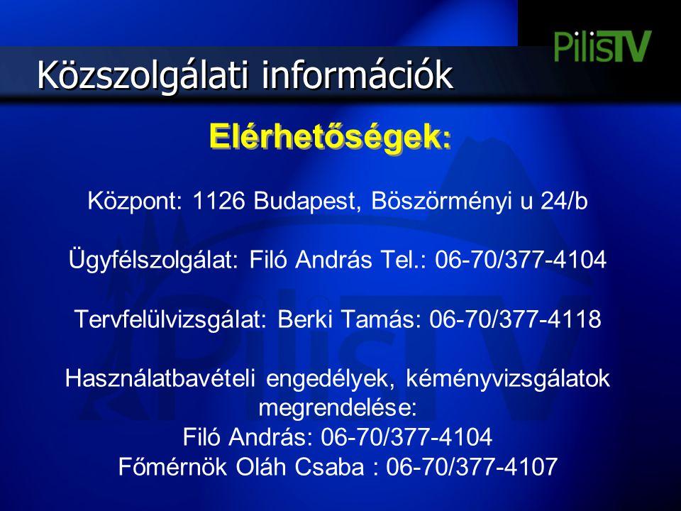 Közszolgálati információk Központ: 1126 Budapest, Böszörményi u 24/b Ügyfélszolgálat: Filó András Tel.: 06-70/377-4104 Tervfelülvizsgálat: Berki Tamás