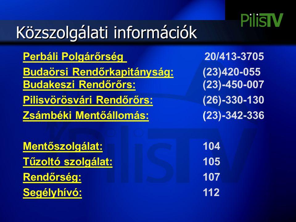 Közszolgálati információk Perbáli Polgárőrség 20/413-3705 Budaörsi Rendőrkapitányság: (23)420-055 Budakeszi Rendőrőrs: (23)-450-007 Pilisvörösvári Ren