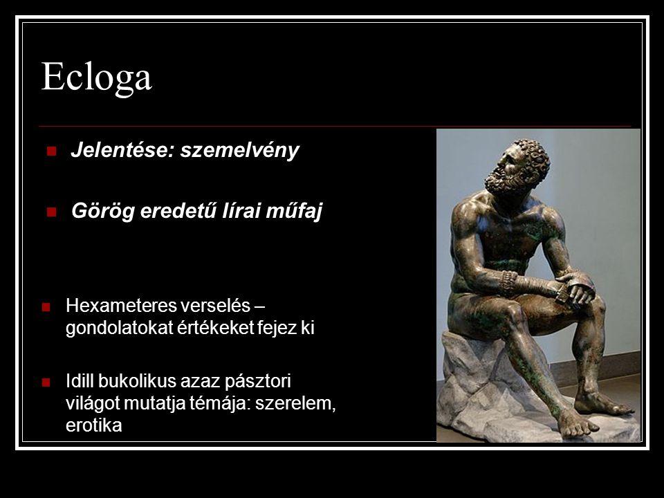 Ecloga  Jelentése: szemelvény  Görög eredetű lírai műfaj  Hexameteres verselés – gondolatokat értékeket fejez ki  Idill bukolikus azaz pásztori vi