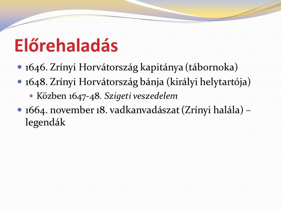 Előrehaladás  1646. Zrínyi Horvátország kapitánya (tábornoka)  1648. Zrínyi Horvátország bánja (királyi helytartója)  Közben 1647-48. Szigeti vesze