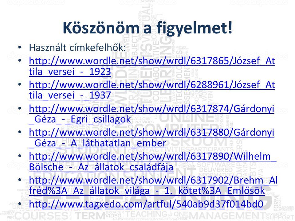 Köszönöm a figyelmet! • Használt címkefelhők: • http://www.wordle.net/show/wrdl/6317865/József_At tila_versei_-_1923 http://www.wordle.net/show/wrdl/6