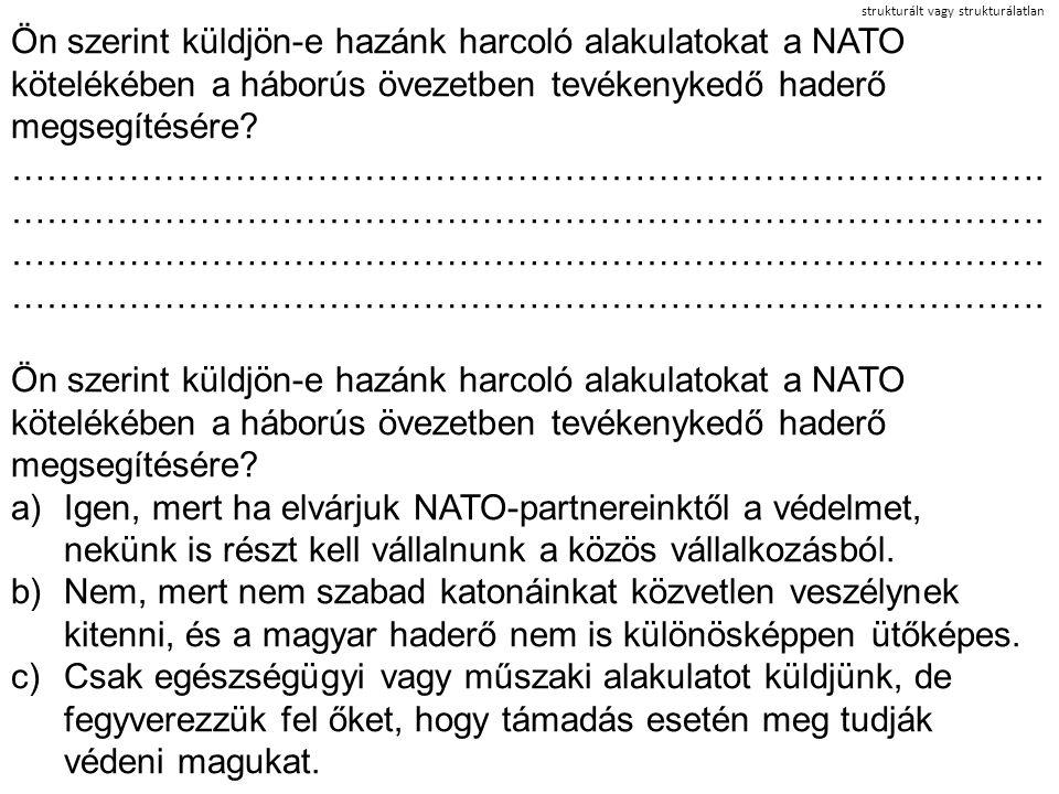 strukturált vagy strukturálatlan Ön szerint küldjön-e hazánk harcoló alakulatokat a NATO kötelékében a háborús övezetben tevékenykedő haderő megsegíté