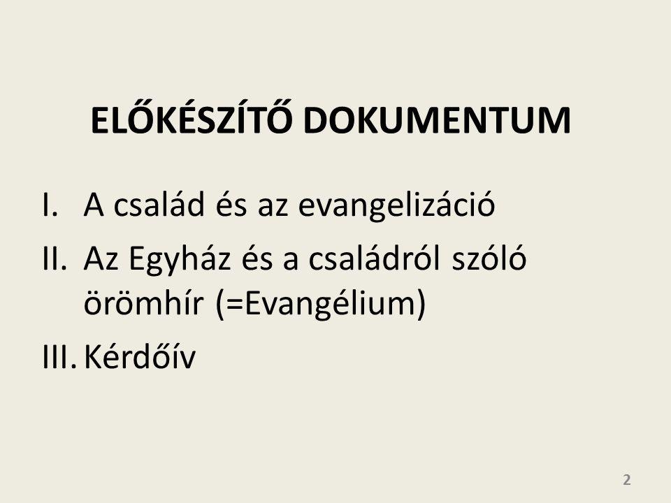 I.A család és az evangelizáció II.Az Egyház és a családról szóló örömhír (=Evangélium) III.Kérdőív 2