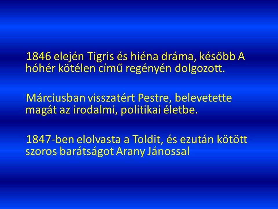 IRODALMI MUNKÁSSÁG 1844. novemberében megjelenik első verseskötete és belefogott a János vitézbe. 1845. nov. 10-én megjelent második verseskötete. 184