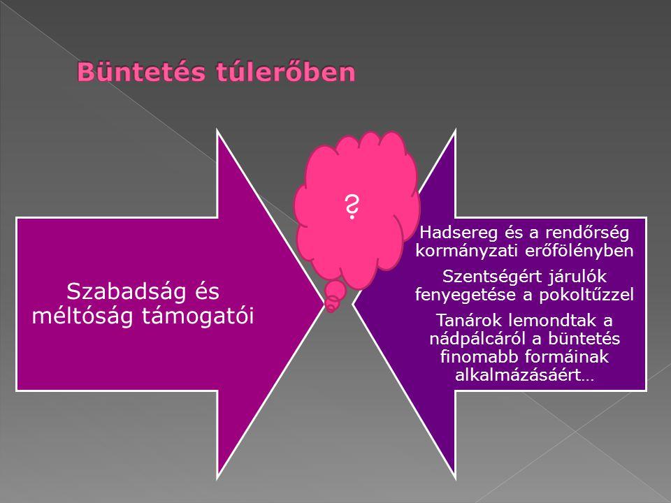  Túl kemény büntetés a büntető csoport elhagyását eredményezheti  A büntetés összeegyeztethetetlen érzelmeket kelthet (nem lehet egyszerre megtámadni a büntető személyt és elszaladni előle)  A büntetett viselkedés nem szűnik meg szükségszerűen (erőszak fennmarad, sőt fokozódik a börtönben)  A büntetett viselkedés nagy valószínűséggel visszatér a büntető körülmények megszüntetésével  Lehet, hogy csak azért tanúsít más magatartást (akár a megbüntetett), hogy a(z újabb) büntetést elkerülje › Nem viselkedik büntethető módon (pl.