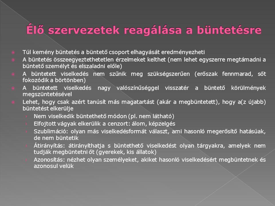 › Racionalizáció: okát adja a viselkedésének, hogy ne legyen büntethető (pl.
