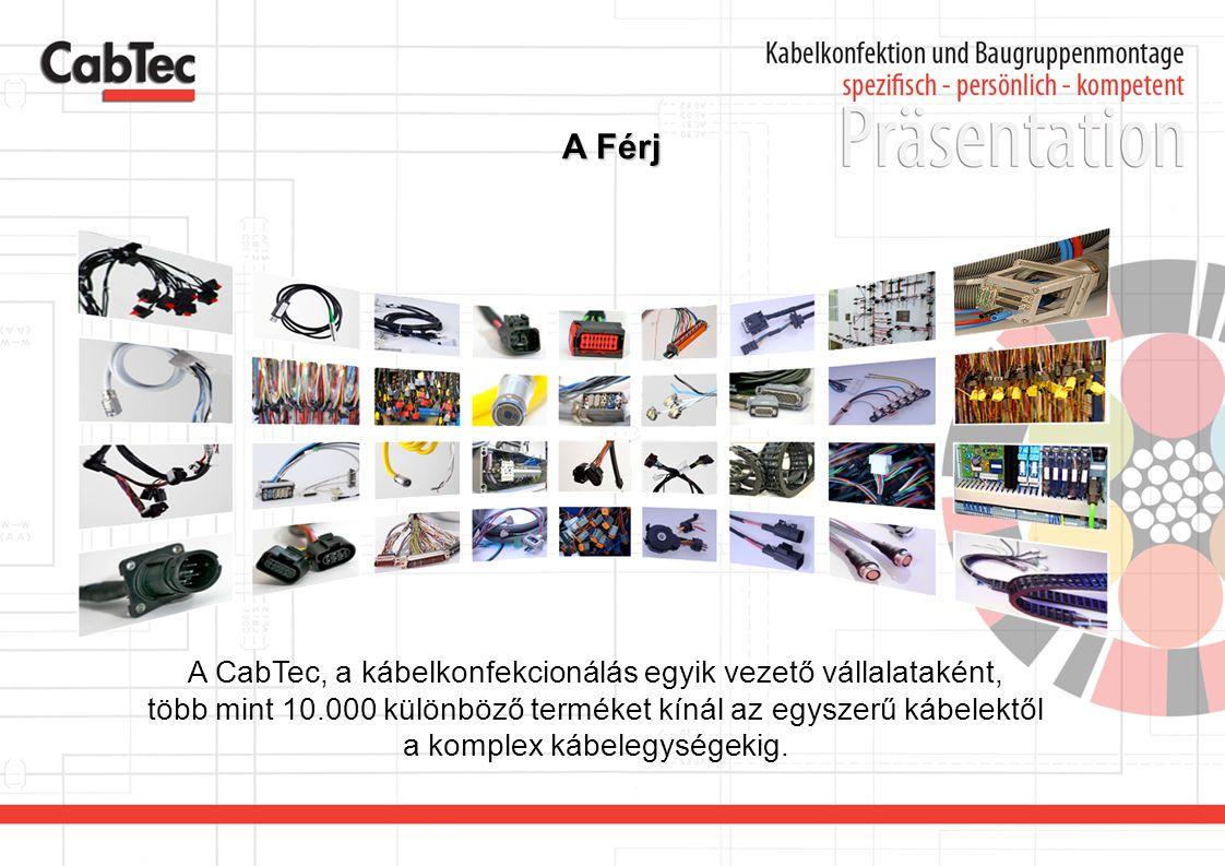 A Férj A CabTec, a kábelkonfekcionálás egyik vezető vállalataként, több mint 10.000 különböző terméket kínál az egyszerű kábelektől a komplex kábelegy